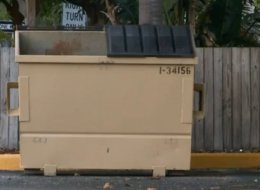 A desk clerk at an apartment complex in St. Petersburg, Fla., found the body of a 96-year-old woman and put it in this Dumpster because he thought the corpse was a mannequin from an April Fools' Day prank.