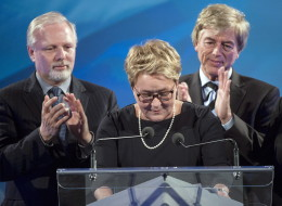 Parti Quebecois leader Pauline Marois acknowledges the crowd at the party's electionheadquarters on April 7 in Montreal, Que. (THE CANADIAN PRESS/Ryan Remiorz)