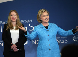 NEW YORK, NY - APRIL 17:  Secretary Hillary Rodham Clinton shares the stage with her daughter Chelsea Clinton while speaking at the Clinton Foundation's No Ceilings: The Full Participation Project at the Lower Eastside Girls Club on April 17, 2014 in New York City. The project is the first in a series of live and virtual dialogues designed to hear directly from girls and women, men and boys about their hopes and fears for the future. The event, which took live questions from schools around the c