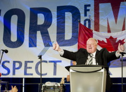 Toronto mayor Rob Ford reacts as he speaks to his supporters during his election campaign launch in Toronto on April 17.