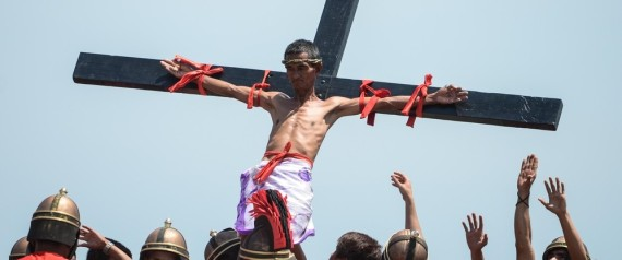 Good Friday Catholics Re Enact Crucifixion Of Christ With