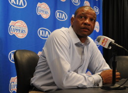 Doc Rivers of the Los Angeles Clippers answers questions after the game against the Los Angeles Lakers at Staples Center on April 6, 2014 in Los Angeles, California. NOTE TO USER: User expressly acknowledges and agrees that, by downloading and/or using this Photograph, user is consenting to the terms and conditions of the Getty Images License Agreement. Mandatory Copyright Notice: Copyright 2014 NBAE (Photo by Andrew D. Bernstein/NBAE via Getty Images)