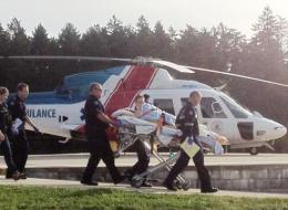 A gunshot victim arrives at the Victoria General Hospital via helicopter on Wednesday morning.