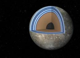This artist's concept of Jupiter's moon Ganymede, the largest moon in the solar system, illustrates the