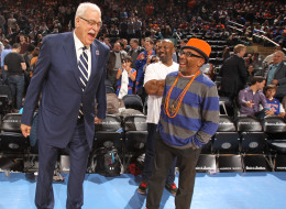 Phil Jackson and Spike Lee share a laugh before the game between the New York Knicks and the Milwaukee Bucks on April 5, 2013 at Madison Square Garden in New York City.  NOTE TO USER: User expressly acknowledges and agrees that, by downloading and or using this photograph, User is consenting to the terms and conditions of the Getty Images License Agreement. Mandatory Copyright Notice: Copyright 2013 NBAE  (Photo by Nathaniel S. Butler/NBAE via Getty Images)