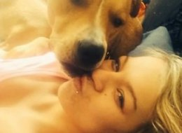 Bianca Alakson with her dog, Rock.