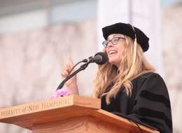 """Jennifer Lee '92, director/writer of the Walt Disney Animation Studios film """"Frozen,"""" spoke at the University of New Hampshire's 144th commencement ceremonies Saturday, May 17, 2014. (Credit: Mark Bolton/UNH)"""