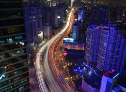 An aerial view of evening traffic in Shanghai on Jan. 9, 2014. (PETER PARKS/AFP/Getty Images)