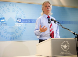 Jim Iker, president of the B.C. Teachers' Federation, announces the union has served strike notice during a press conference in Vancouver on Thursday.