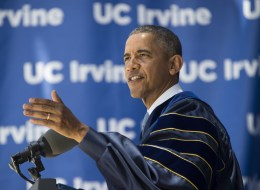 US President Barack Obama delivers the commencement address at the University of California Irvine in Irvine, California, June 14, 2014. (JIM WATSON/AFP/Getty Images)