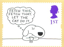 A 1996 UK Royal Mail stamp card with a cartoon by Charles Barsotti