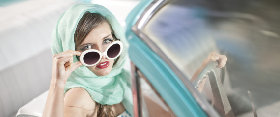WOMAN WHITE SUNGLASSES CAR