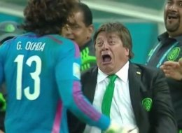 Mexico's coach Miguel Herrera reacted to the team's goals against Croatia with unadulterated joy on Monday. The team won the game and now advances to the next round in the World Cup.
