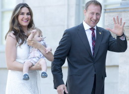 Peter MacKay, his wife Nazanin Afshin-Jam and baby Kian arrive at Rideau Hall in Ottawa on Monday, July 15, 2013. MacKay was sworn in as minister of justice. THE CANADIAN PRESS/Adrian Wyld
