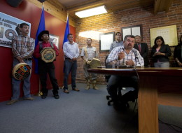 Chief Joe Alphonse, right, of the Tl'etinqox First Nation, is flanked by other chiefs while speaking during a news conference in Vancouver, after the Supreme Court of Canada ruled in favour of the Tsilhqot'in First Nation.