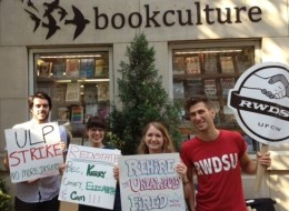 Protesters outside Book Culture on Wednesday. (Photo courtesy RWDSU)