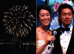 Joseph Fung and Michelle Tam's wedding reception at the Vancouver Convention Centre was capped off by a fireworks display.