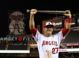 American League All-Star Mike Trout #27 of the Los Angeles Angels poses with the MVP trophy after a 5-3 victory over the National League All-Stars during the 85th MLB All-Star Game at Target Field on July 15, 2014 in Minneapolis, Minnesota.  (Photo by Elsa/Getty Images)