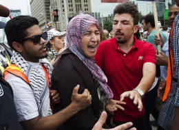 Emotions ran high between pro-Palestinian and pro-Israeli groups at a protest in Toronto.