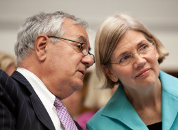 Rep. Elizabeth Warren (D-Mass.) and former Rep. Barney Frank (D-Mass.), who said he is supportive of activists' campaign to get Warren to run for president in 2016.  (Photo by Brendan Hoffman/Getty Images)