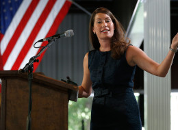 Kentucky's Democratic U.S. Senate nominee, and Kentucky Secretary of State, Alison Lundergan Grimes speaks at the Fancy Farm picnic on August 2, 2014 in Fancy Farm, Kentucky. (Photo by Win McNamee/Getty Images)