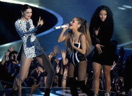 INGLEWOOD, CA - AUGUST 24:  (L-R) Recording artists Jessie J, Ariana Grande, and Nicki Minaj perform onstage during the 2014 MTV Video Music Awards at The Forum on August 24, 2014 in Inglewood, California.  (Photo by Michael Buckner/Getty Images)
