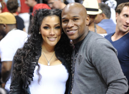 Floyd Mayweather and Shantel Jackson at The Miami Heat vs New York Knicks Games at AmericanAirlines Arena on February 27, 2011 in Miami, Florida.