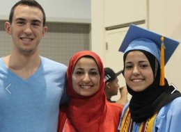 Deah Shaddy Barakat, right his wife Yusor Abu-Salha, and her sister, Razan Mohammad Abu-Salha, in an undated Facebook photo.