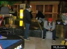 MLB Network cameras captured a man falling into a fountain during the MLB Winter Meetings.