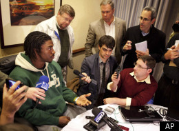 Baylor quarterback and Heisman Trophy finalist Robert Griffin III attends an informal roundtable conference with journalists, Friday, Dec. 9, 2011, in New York. (AP Photo/John Minchillo)