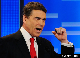 Texas Gov. Rick Perry speaks during the ABC News GOP Presidential debate on the campus of Drake University on December 10, 2011 in Des Moines, Iowa. (Photo by Kevork Djansezian/Getty Images)