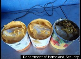 Border control agents found seven pounds of methamphetamine hidden in cans of cheese sauce and jalepenos.