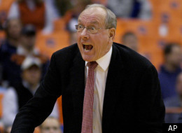 Syracuse head coach Jim Boeheim yells at court side during the first half against Coppin State in an NCAA college basketball game in Syracuse, N.Y., Monday, Dec. 22, 2008. (AP Photo/Kevin Rivoli)