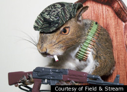 Rick Nadeau has cornered the market on taxidermic squirrels who smoke cigarettes and carry machine guns.
