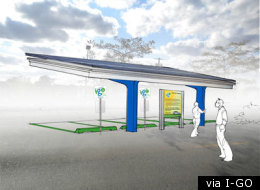 A rendering of the solar-powered charging canopies that will be erected across the city.