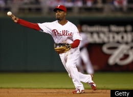 PHILADELPHIA - OCTOBER 06: Jimmy Rollins #11 of the Philadelphia Phillies throws to first in Game 1 of the NLDS against the Cincinnati Reds at Citizens Bank Park on October 6, 2010 in Philadelphia, Pennsylvania. (Photo by Jeff Zelevansky/Getty Images)