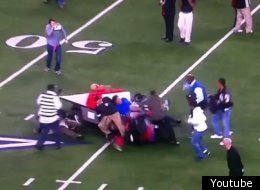 This unmanned cart hit several people at Cowboys Stadium following a High School football game.