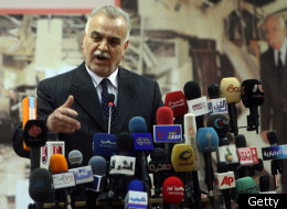 Iraqi Vice President Tareq al-Hashemi addresses a conference in support of victims in bombings that targeted Iraqi ministries in recent months in Baghdad on March 31, 2010. (Getty)