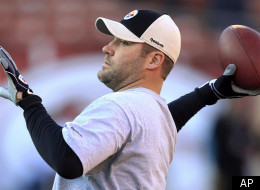 Pittsburgh Steelers quarterback Ben Roethlisberger warms up for the Steelers' NFL football game against the San Francisco 49ers in San Francisco, Monday, Dec. 19, 2011. (AP Photo/Marcio Jose Sanchez)