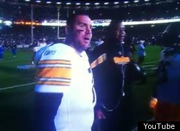 Big Ben responds to a fan rushing the field during a power outage at Candelstick Park.
