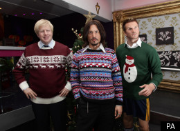 Christmas Jumpers: Madame Tussauds' statues Boris Johnson, Johnny Depp, and David Beckham, dressed in festive jumpers