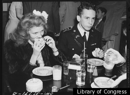 1943 photo of Walter Spangenberg and his date at the Hot Shoppe after the Woodrow Wilson High School regimental ball.