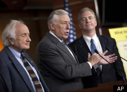 Rep. Sander Levin (D-Mich.), House Minority Whip Steny Hoyer (D-Md.) , and Rep. Chris Van Hollen (D-Md.).
