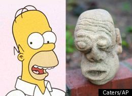 Lookylikey? A gargoyle unearthed in a Scottish garden bears more than a passing resemblance to Homer Simpson
