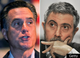Mitt Romney, left, Paul Krugman, right. (Getty Images)