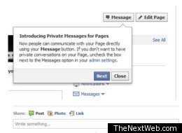 Facebook is testing a new messaging feature for business pages that allows customers and page admins to exchange private messages.
