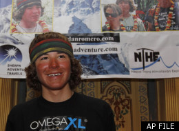 Jordan Romero, the 13-year-old American who on Saturday became the youngest climber to reach the summit of Mount Everest, gestures as he speaks to reporters in Katmandu, Nepal, Thursday, May 27, 2010. Romero, from Big Bear, California, told reporters Thursday in Katmandu that he plans to climb the 8,201-meter (26,906-foot) Mount Cho Oyu, the world's sixth highest peak, during the autumn climbing season. Cho Oyu straddles the Nepal-China border. (AP Photo/ Binod Joshi)