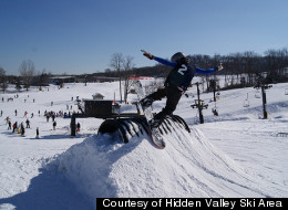 Snowboarders can show off their skills at one of two terrain parks at Hidden Valley Ski Area in Missouri.