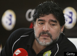 Argentine legend Diego Maradona, coach of al-Wasl in the United Arab Emirates speaks during a press conference following training of his team in Dubai, September 20, 2011. Maradona vowed that his team will improve in the next game against Emirates club following a defeat against al-Jazira last week. AFP PHOTO/MARWAN NAAMANI (Photo credit should read MARWAN NAAMANI/AFP/Getty Images)