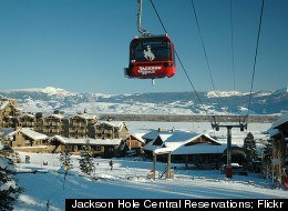 Skiers can enjoy a beautiful mountain view as they ride up Jackson Hole Mountain.
